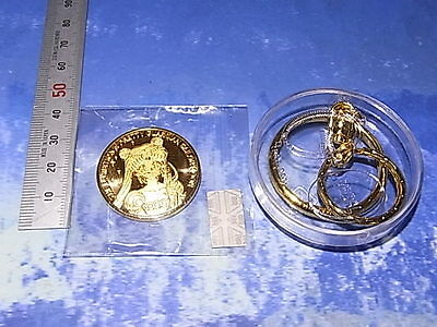 Sailor Moon Exhibition Limited Memorial Coin Key Holder Serenity Gold Color