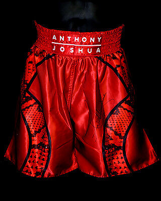 *New* Anthony Joshua Signed Custom Made  Red Replica Boxing Trunks