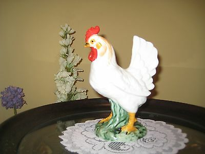 """ROOSTER CHICKEN Figurine  6.5"""" Tall FARM COUNTRY HOME DECOR WHITE STATUE"""