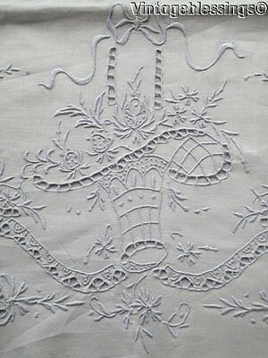 Vintage Madeira Bridal Basket PAIR Embroidered Pillow Cases Pillowcases