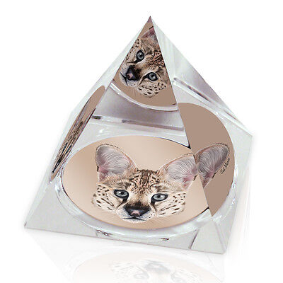 "Serval Cat Head Cute Animal 2"" Crystal Pyramid Paperweight"