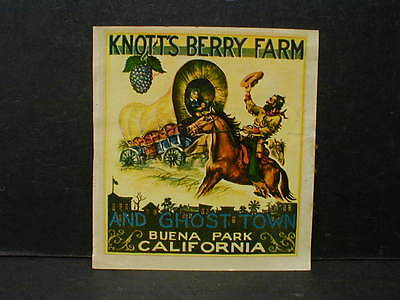 Original 1947 Knott's Berry Farm & Ghost Town Water Transfer Travel Decal