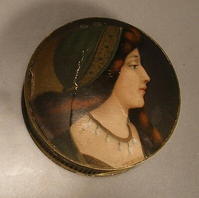 Cardboard Box with Lithographed Lid of Renaissance Lady