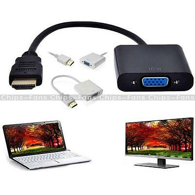New HDMI To VGA Video Converter Adapter Full 1080P Cable Cord For Laptop DVD
