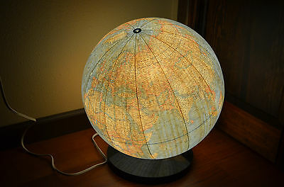 "Vintage 1976 National Geographic Lighted 16"" Globe on Black Lucite Stand"