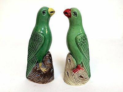 Pair of Early 1900s Miniature Chinese Porcelain Famille Verte Parrots Birds 4""
