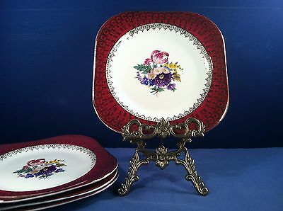 Vintage Steubenville 4 Square Plates  Red Rim W. Gold Filagree And Floral Center
