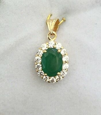 14k Solid Yellow Gold Pendant 2.76CT Natural Oval Emerald & CZ/2.28GM