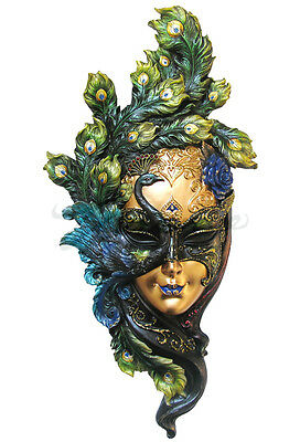 NEW Peacock Mask Wall Plaque  (Green) Ship Immediately