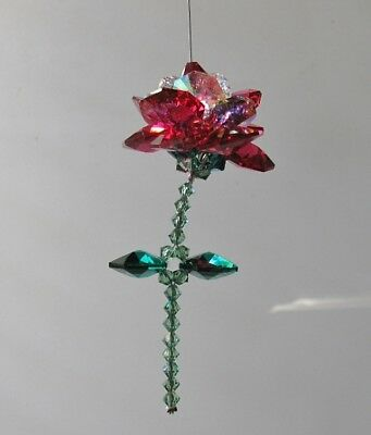 Flower Rose Suncatcher Made With Swarovski Crystal - Bordeaux Red  - Gift Box