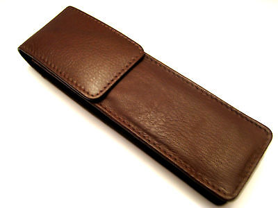 Brown Soft Napa Leather Double Magnetic Flap Pen Case/Pouch