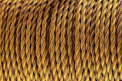 Gold Twisted Silk Braided Vintage Fabric Coloured Cable 3 core 0.75mm
