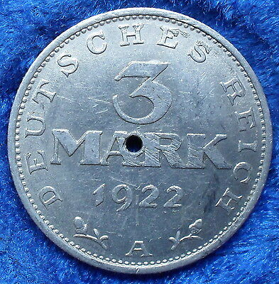 GERMANY - 3 mark 1922 A KM# 28 Weimar Republic Mark Coinage - Edelweiss Coins