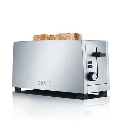 Graef TO100 Stylish Long Slot 4 Slice Toaster In Brushed Stainless Steel