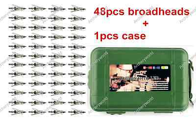 48pcs Standard Hypodermic Broadheads +1pcs Case for Rage Deploying SlipCam Tips