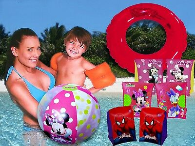 Minnie Mickey Mouse Spider Man Armbands Floats Float Floating Ring Beach Ball