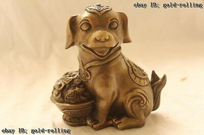 """6""""Chinese Folk Bronze carved excellent Lucky Lifelike Money Dog Statue"""