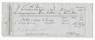 1866 Freight Bill Northern  Railroad Aiken Franklin to Manchester New Hampshire