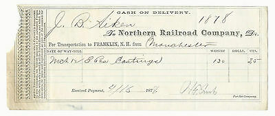 1878 Freight Bill Northern  Railroad Aiken Franklin to Manchester New Hampshire