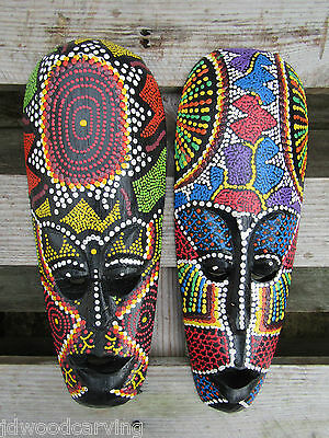 Hand Carved Made Wooden Tribal Dot Painted Tiki Wall Art Hanging Masks Set Of 2