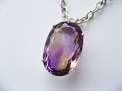 *Large* new genuine faceted natural AMETRINE Pendant Sterling Silver 18in Chain