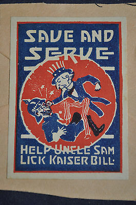 Save and Serve, Help Uncle Sam Lick Kaiser Bill Poster Stamp