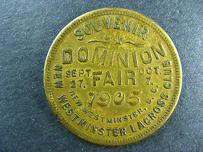 British Columbia token medallion 1905 New Westminster Lacross Club Dominion Fair
