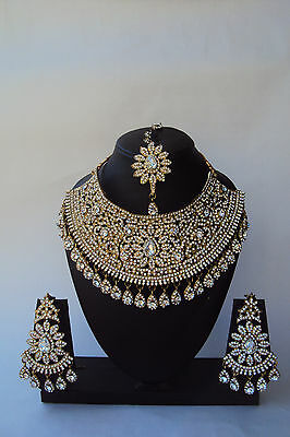 Indian Ethnic Bollywood Gold Tone Wedding Fashion Bridal Jewelry Necklace Set