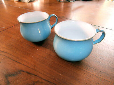 Two Denby Coloroll Colonial Blue tea cups no saucers 3 inches