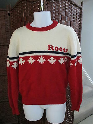 Vintage Roots Canada Wool Sweater Maple leaf Adult Medium Red White Unisex