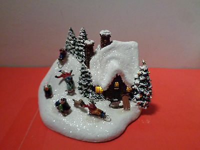"""Vintage Thomas kinkade """"The Sled Ride"""" Lighted Christmas Display (6 by 5 by 4.5"""""""