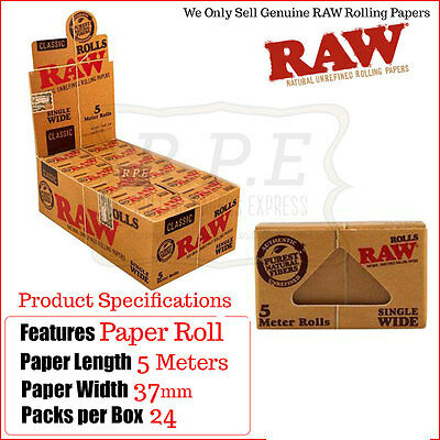 Raw Classic Natural Single Wide Rips Rolls - 5 Meters Multi Listings Full Box