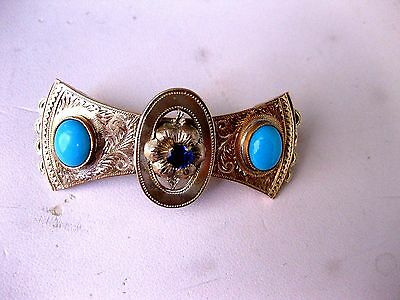 ANTIQUE RUSSIAN IMPERIAL 56 ROSE GOLD ENGRAVED HAIR PIN with GEMS,RIGA,19c.