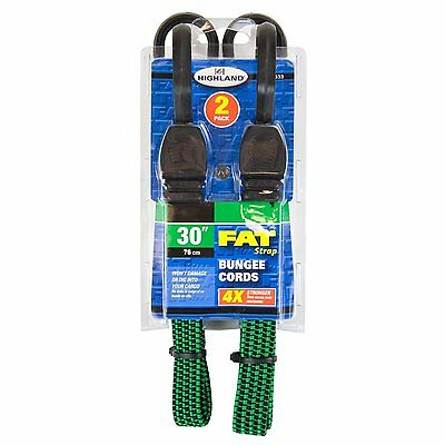 2 Highland 30 Inch Fat Strap Bungee Cords Flat Extra Wide Moving-Tarp-Cargo-Boat