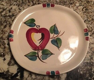 """Purinton Slip Ware Square Plate Hand Painted Vintage 9"""" x 9.5"""""""