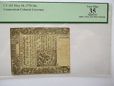 Connecticut Colonial Currency May 1775 20s, PCGS VF35,apparent