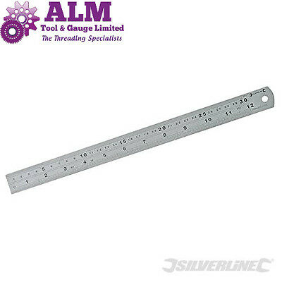 "Silverline 300mm/12"" Stainless Steel Ruler Metric/Imperial conversion table MT65"