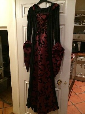 Medieval Gothic Dress Gown Hood Red Black Fancy Dress UK Size 8 Theatre