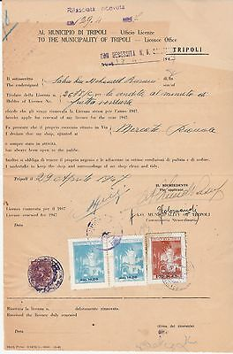 LIBYA ,Document With Revenue Stamps Tripoli Municipal Duty 100 L & Other Stamps