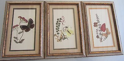 Vintage Shabby Butterfly Hand Painted ? Floral Foliage Framed Pictures Art Decor