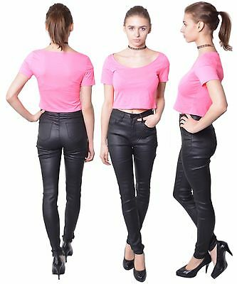 463 DONNA PANTALONI IN SIMILPELLE Skinny imitazione pelle High CINTOLA