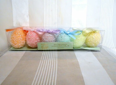 Pier  1 imports Easter Glitter Egg Ornament Box Set of 6 Pastel Color Eggs