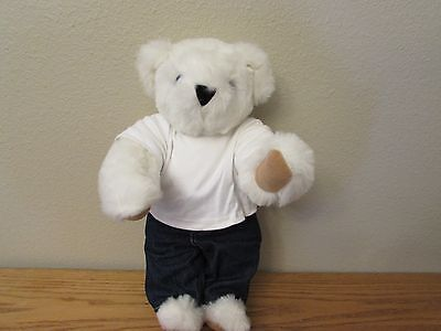 """Vermont Teddy Bear Company White Ivory Teddy Bear Jointed Bright Blue Eyes 17"""""""