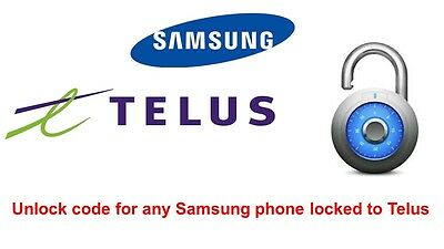 Unlock code for Samsung Galaxy S7, S8, S9 locked to Telus, Koodo, PC mobile