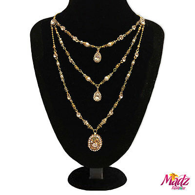 Indian Pakistani Bridal Long Gold white stone Rani Haar necklace wedding  pearl