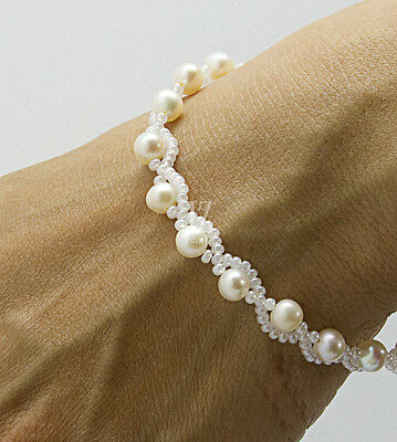 "Freshwater Cultured Pearls 8"" Bracelet/Anklet with Czech beads & S/Silver Clasp"