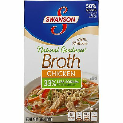 Swanson 33% Less Sodium Broth, Chicken, 48 Ounce Pack of 8