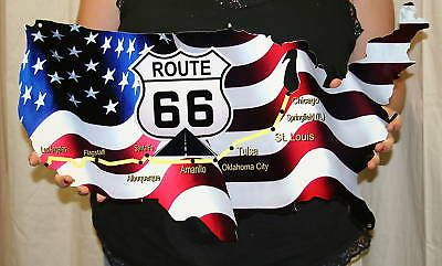 Route 66 Map Sign  - Metal Sign - PhotoSTEEL