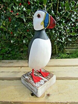 Fair Trade Hand Carved Made Wooden Puffin Wild Bird Ornament Sculpture Large