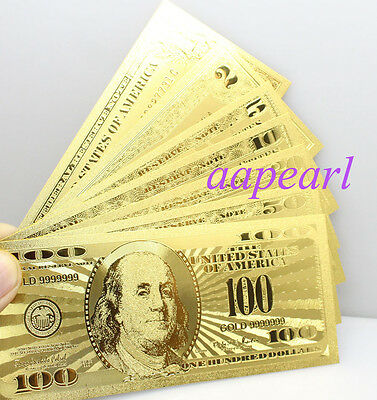 7pcs golden Crafts Banknotes US $ 1 2 5 10 20 50 100 dollar plastic paper money